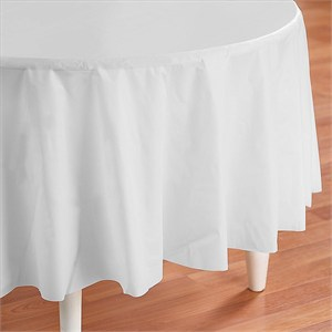 White Plastic Table Cover - Round