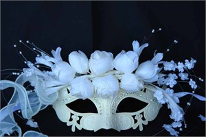 White Venetian Mask With Roses
