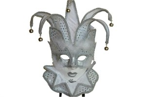 White Women's Jester Mask With Collar