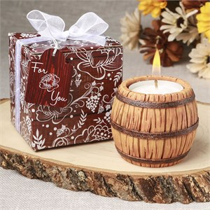 Wine Barrel Themed Tea Light Candle Holder