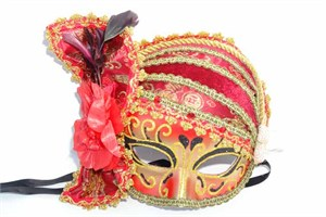 Women's Red Pirate Scarf Hat Half Mask