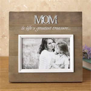Wood Frame with Raised Metal Words 6 x 4 Mom