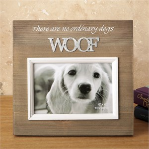 Wood Frame with Raised Metal Words 6 x 4 Woof